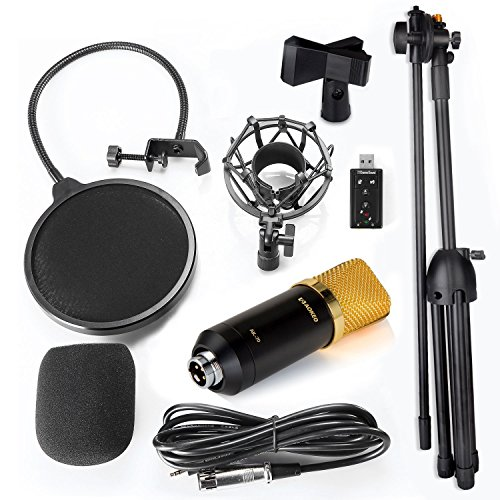 Aokeo Professional Studio Broadcasting / Recording AK-70 Condenser Microphone & AK-107 Folding Type Height Adjustable Microphone Tripod Boom Floor Stand Kit - Image 1