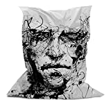 AAA Best Soft Cozy Comfortable Extra Large Pillow Bean Bag Chair Lounger for Adults Kids Teens with Printed Line art Man (5' x 4.4')
