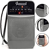 AM FM Portable Pocket Radio with Great Reception - Small Battery Operated Transistor Style, Built-in Speaker, Headphone Jack, Retro - Powered by AA Batteries (Grey)