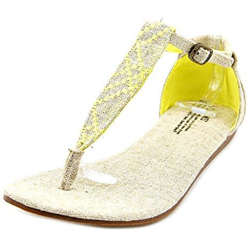 Toms Womens Playa Sandal Yellow Burlap Vegan Size (Toms Flat Sandals)