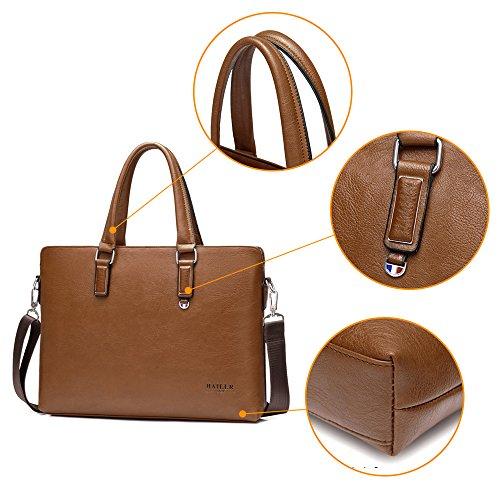 Security Shoulder Handbag Public Tote Business Commuter jn3009 Genuine Men's Brown 3way Pack Leather k Briefcase Bag Waterproof Pu A4 BO8qw1a
