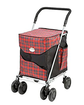 Tartan de grande capacité poids léger à roues Shopping Chariot Poussoir Panier Sacs