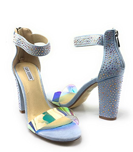 Bamboo Rampage 04 Womens Single Band Chunky Heel Sandal With Ankle Strap (6.5, Baby-Blue)