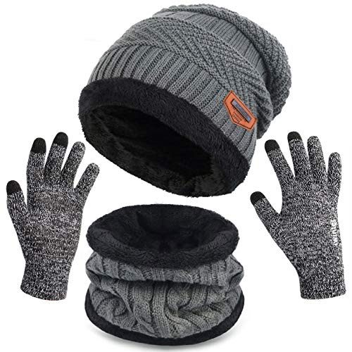 Maylisacc 3-Pcs Mens Womens Winter Warm Fleece Beanie Hat Touch Screen Gloves Neck Warmer Gaiter Set Grey