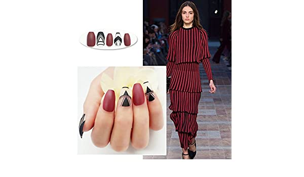 Amazon.com : Frost Coffin Fake Nails Maroon Red Matte Geometry Triangle Pattern Acrylic ABS Nail Tips 24pcs in box Z907 : Beauty
