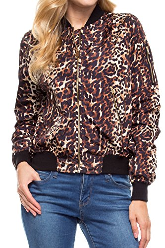 Angel Cola Womens MA-1 Short Bomber Flight Jacket TJ16 Leopard (Leopard Bomber)