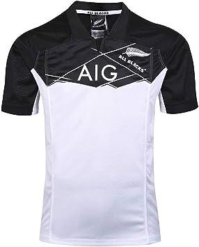 Imagen deAFDLT 2019 New Zealand All Black Team Copa Mundial Polo Shirt Hombre Rugby Jersey Casual Redondo CháNdales Respirable Camiseta de fútbol Polo Shirt