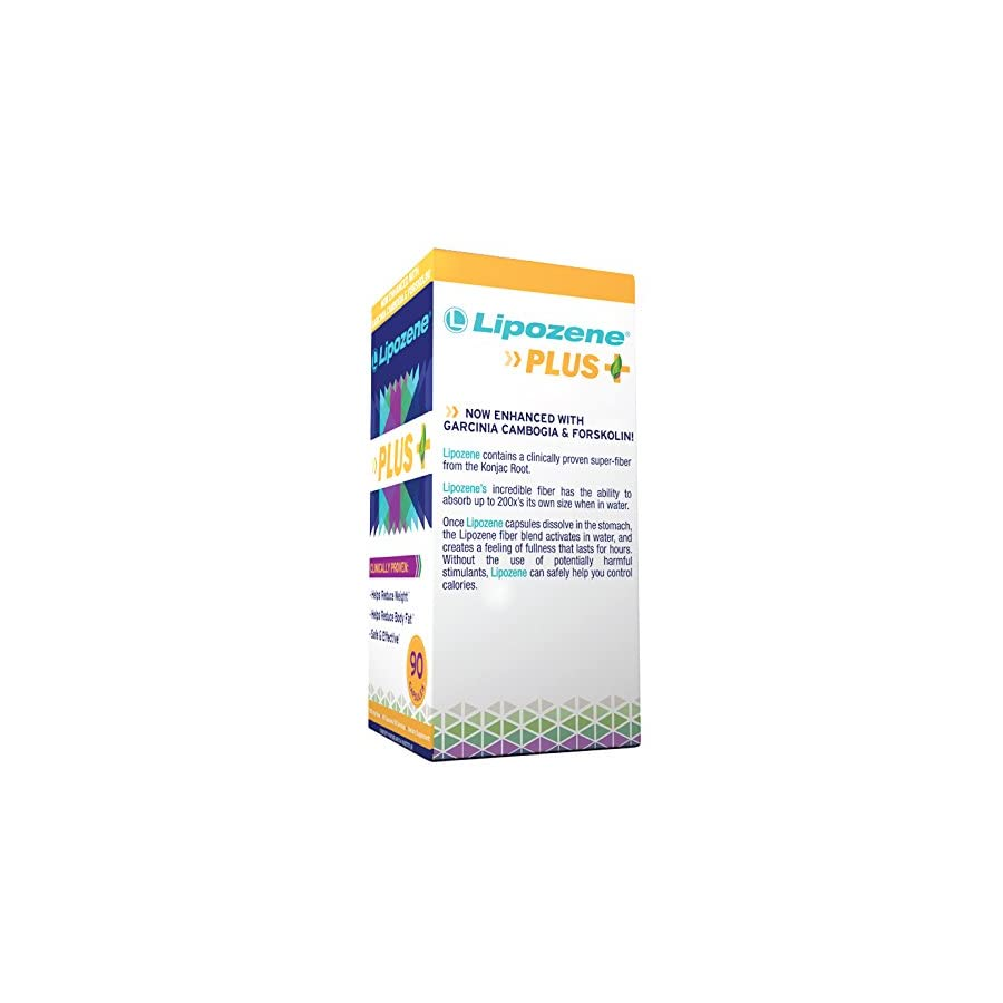 Lipozene Plus Garcinia Cambogia Extract, Forskolin, and Glucomannan 50% HCA Pure Extract [Appetite Suppressant Weight Loss Diet Pills] No Caffeine No Jitters 90 Capsules