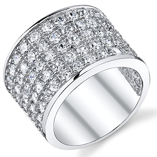 (David Beckham Sterling Silver Men's Championship Cubic Zirconia CZ Band Ring 15 MM Size 11)