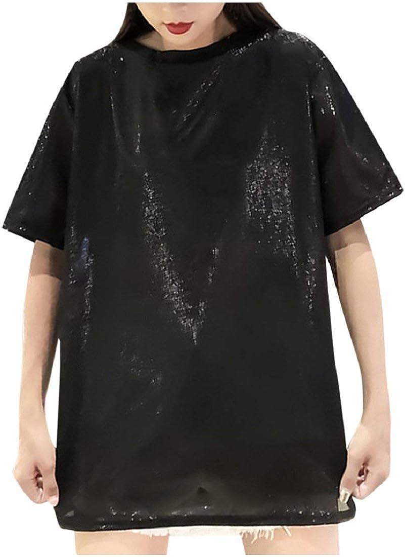 DEELIN Tops para Mujer Más Tamaño Niñas Manga Corta Suelta Reflectante Larga Camiseta Blusa: Amazon.es: Ropa y accesorios