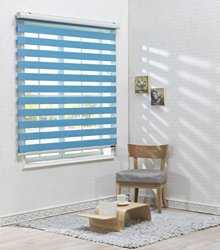 Sheer or Privacy Light Control Foiresoft Custom Cut to Size, 20 to 110 inch Wide Winsharp Basic, White,W 20 x H 82 inch Dual Layer Shades Day and Night Window Drapes Zebra Roller Blinds