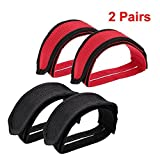IDS Bike Pedal Straps, Bicycle Feet Strap Pedal Straps for Fixed Gear Bike, Black, Red, 2 Pairs