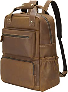 """Tiding Leather Backpack for Men 15.6"""" Laptop Backpack Travel bag Schoolbag Office Daypacks with YKK Metal Zippers"""
