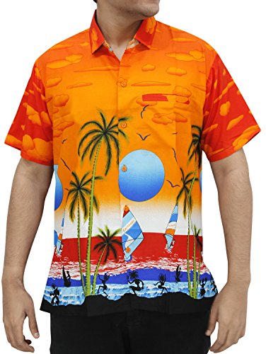 LA LEELA SHORT SLEEVEBEACH POCKET FRONT LUAU PARTY CARIBBEAN BEACHWEAR CAMP HAWAIIAN DRESS ALOHA SHIRT MENS 777 Orange L Spring Summer (Hawaiian Party Dress)