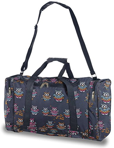 5 Cities Extra Large Super Lightweight Ryanair Cabin Holdall Carry On Travel Holiday Bag, ideal for Weekend/ Overnight/Gym & Sports luggage with Optional Shoulder Strap. - 3 years warranty (Owls Navy)