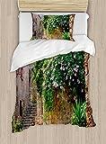 Ambesonne Landscape Duvet Cover Set Twin Size, Summer Garden Flowers Marigold Stones Antique Ancient House in Spain Art Print, Decorative 2 Piece Bedding Set with 1 Pillow Sham, Multicolor