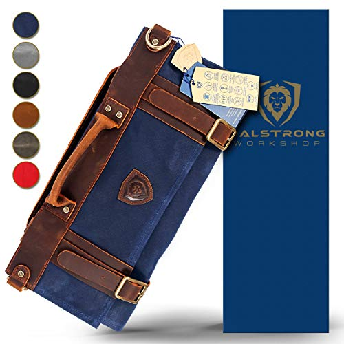 Dalstrong – Nomad Knife Roll – 12oz Heavy Duty Canvas & Top Grain Leather Roll Bag – 13 Slots – Interior and Rear…