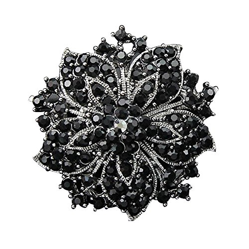 Crystal Cluster Pin (AENMIL Women's Blossom Flower Brooches Pin Sanwood Cluster Crystal Rhinestones with Shiny Color - Black)