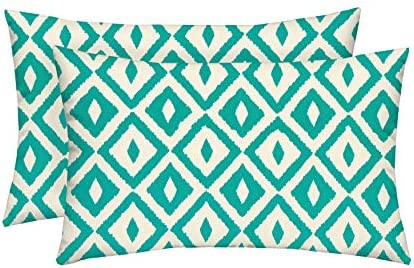 Set of 2 – Indoor Outdoor Rectangle Lumbar Decorative Throw Toss Pillows Jade Turquoise, Ivory Intertwined Geometric