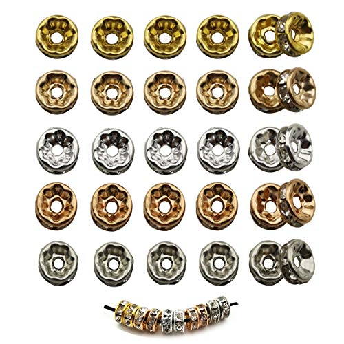 Youdiyla 500pcs Crystal Rondelle Spacer Beads, 7mm, Silver+Champagne Gold+Nickel+Rose Gold+Gold Tone, Metal Spacer Beads Charm, DIY for Bracelets (HM238)