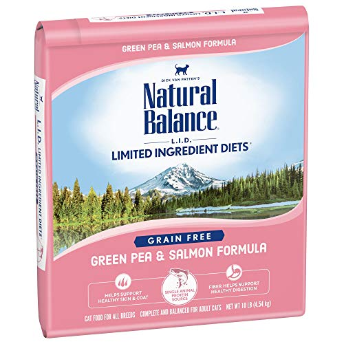 Natural Balance Limited Ingredient Diets Green Pea & Salmon Formula Dry Cat Food, 10 Pounds, Grain Free (Best Cat Food For Cats With Allergies)