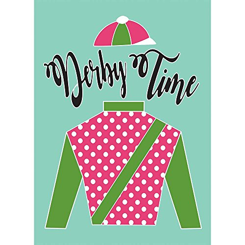 Cheap Derby Time Silks Polka Dot Pink Mint 30 x 44 Rectangular Large House Flag