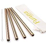 FUNNA Boba Tea Stainless Steel Straws Reusable Set of 4, Bpa-Free Extra Large for Bubble Tea Smoothie Milkshake, 9.5'' x 0.5'',Rose Copper