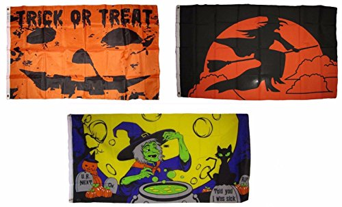 ALBATROS 3 ft x 5 ft Happy Halloween 3 Pack Flag Set #157 Combo Banner Grommets for Home and Parades, Official Party, All Weather Indoors Outdoors ()