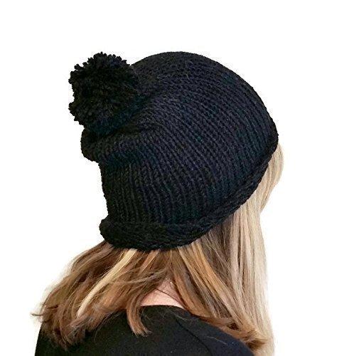 84a00fe3a7a Amazon.com  Handmade Womens Black Alpaca Slouchy Bobble Pom Pom Beanie   Handmade