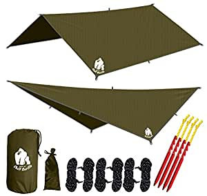 CHILL GORILLA 10' hammock rain fly tent tarp waterproof camping shelter. Lightweight ripstop nylon & not cheap polyester. Stakes included. Survival gear. Backpacking camping ENO accessory. OD green
