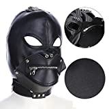 Littleice Bondage Toys Headgear with Mouth Ball Gag BDSM Erotic Leather Hood for Men Adult Games Mask