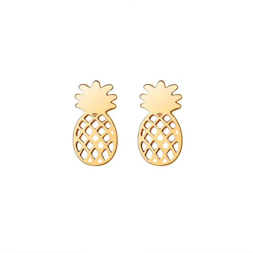 METTU Pineapple Pendant Necklace Bracelet Bangle Ear Studs Earrings Set Gold Silver Fruit Jewelry Set for Wedding