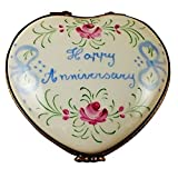 HAPPY ANNIVERSARY HEART-50TH - LIMOGES PORCELAIN FIGURINE BOXES AUTHENTIC IMPORTS