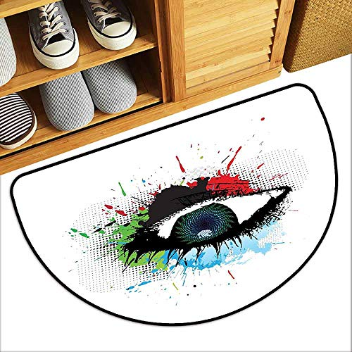 DILITECK Outdoor Door mat Eye Glance of an Abstract Grunge Style Human Eye with Colorful Splashes and Halftone Effect Super Absorbent mud W31 xL20 Multicolor