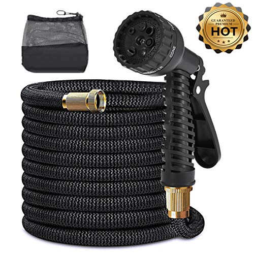 SGODDE 50ft Expandable Garden Hose, All New 2019 Flexible Water Hose with 3/4″ Solid Brass Fittings Free Spray Nozzle and Double Latex Core | Rot, Crack, Leak Resistant with Storage Bag