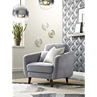Elle Decor 24 Mid-Century Modern Chloe Arm Chair in Light Gray