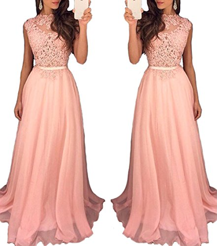 Pink Lace Appliques Bridesmaid Dresses Floor Length Chiffon Beaded Sequins Evening Party Gown US16