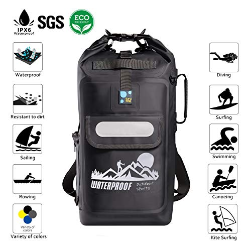 9772bc09bee IDRYBAG Dry Bag Waterproof Backpack Floating 20L Roll Top Compression Sack  Keeps Gear Dry for Kayaking, Beach, Rafting, Swimming, Boating, Hiking, ...