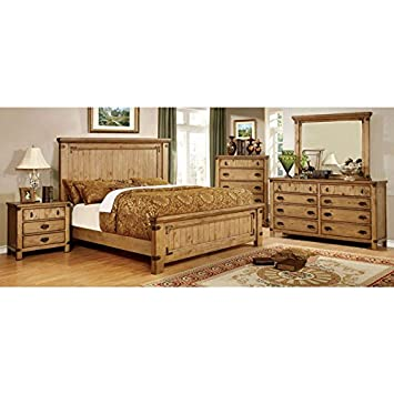 Pioneer Country Style Weathered Elm Finish King Size 6 Piece Bedroom Set