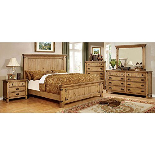 247SHOPATHOME Idf-7449EK-6PC Bedroom-Furniture-Sets, King, Weathered Elm (Country Bedroom Furniture)