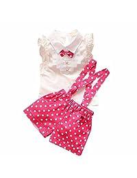 SUPPION Kids Girls Polka Dot Strap Short Jumpsuit Pant Bow Shirt Tops Sets