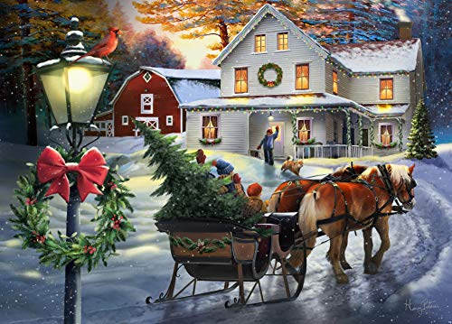 The Jigsaw Puzzle Factory Holiday Farmhouse Puzzle Kids Games for 12+ Age, 1000Piece Jigsaw Puzzle Set