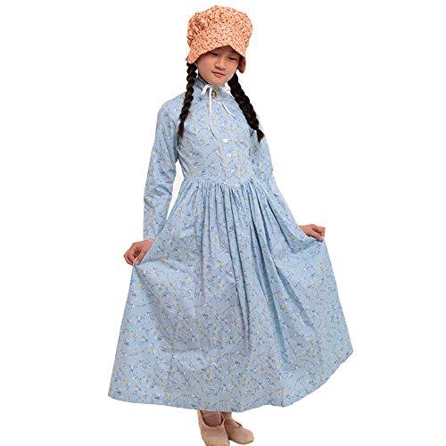 GRACEART Reenactment Pioneer Prairie Colonial Girl Costume 100% Cotton (US Size-12, Cream (Colonial Girls Dress)