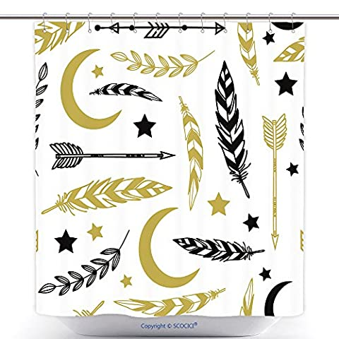 Antibacterial Shower Curtains Ethnic Background With Feathers Moon Stars Florals And Tribals Used For Wallpaper Pattern 223856470 Polyester Bathroom Shower Curtain Set With - Madison Florals Wallpaper