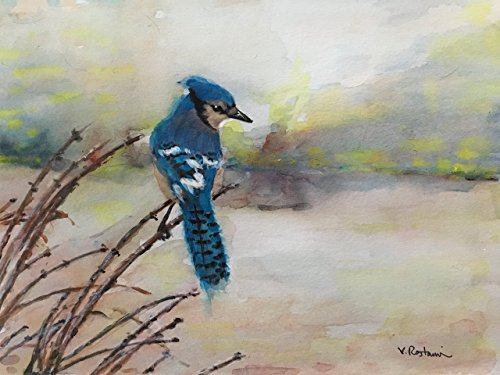 """Original/Print of the Watercolor Painting """"Blue Jay"""" on Quality Artistic Paper. Wall decor. Birds. Office Decor. Gift Idea. ACEO size available."""
