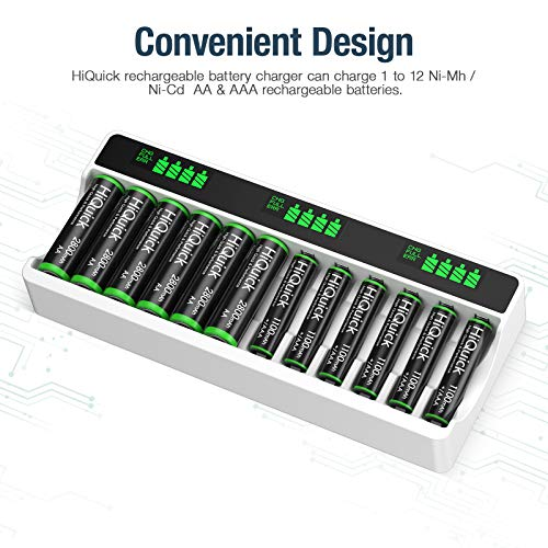 HiQuick LCD Battery Charger for AA & AAA Rechargeable Batteries with Type C and Micro USB Input, 12 Slots, Multiple Battery Charger with Battery Detection Technology, AA AAA Battery Charger