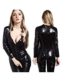 FASHION QUEEN Women's Sexy Wet Look Catsuit Zipper To Crotch Costume