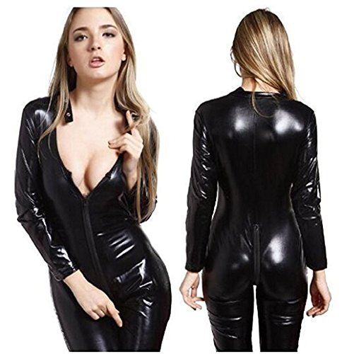 FASHION QUEEN Women's Sexy Wet Look Catsuit Zipper To Crotch Costume (Black, (Wet Look Cat Costume)