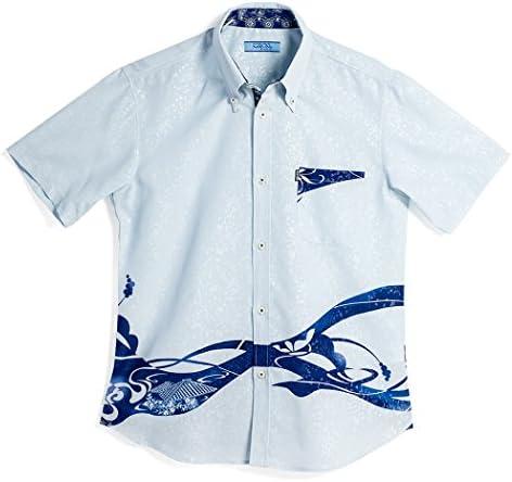 MAJUN (マジュン) かりゆしウェア アロハシャツ かりゆし 結婚式 メンズ 半袖シャツ ボタンダウン レッドタイル