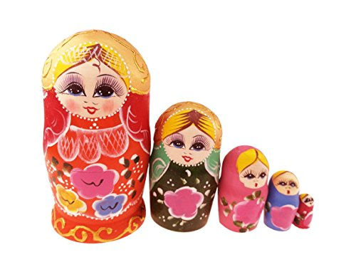 5pcs Multicolor Blonde Girl Pink Flowers Stacking Dolls Matryoshka Babushka Doll Russian Nesting Dolls Wooden Handmade Dolls Keepsakes Holiday Birthday Christmas Gift Kids Toy by Winterworm